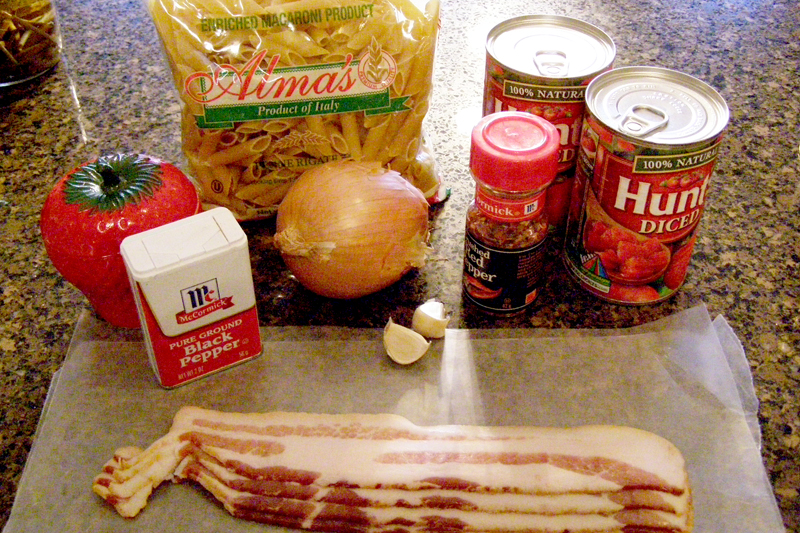 Ingredients for Pasta d'Arrabiata