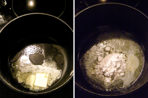 Making roux for croque monsieur