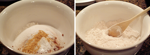 Combine dry ingredients for Low Fat Carrot Raisin Muffins