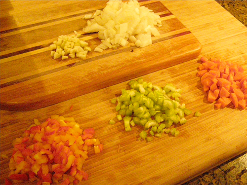 Prepping veggies for Cheese Ravioli with Chunky Tomato Sauce