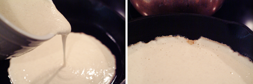 Pour the batter into the preheated skillet