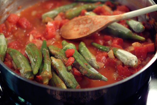 Add okra and water. Cover and cook until okra is tender and cooked ...